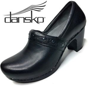 Dansko Riki Black Leather High Heel Clog size 37